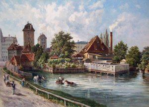 Die Nonnenmühle in Leipzig von Norden mit den beiden Wasserkünsten (links). Aquarell von Ernst Heyn um 1890.