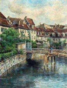 Das Naundörfchen in Leipzig mit der Hanreybrücke über den Pleißemühlgraben